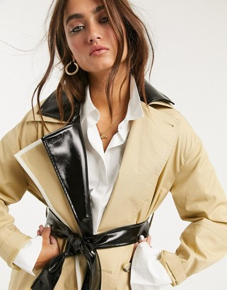Topshop trench coat with vinyl panels in stone