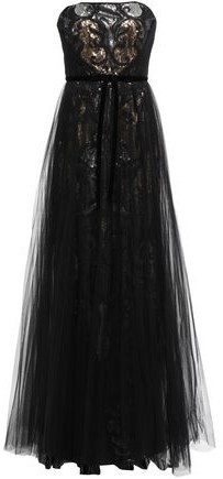 Marchesa Strapless Layered Embellished Tulle Gown