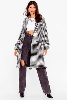 Nasty Gal Womens Finally Houndstooth You Belted Longline Coat - Black