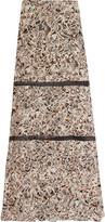 Roberto Cavalli Mesh-trimmed printed silk crepe de chine maxi skirt