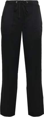 DKNY Satin-trimmed Twill Wide-leg Pants