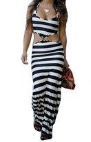 The Bazaar R New Womens Summer Striped Long Maxi Boho Evening Party Dress