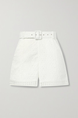 Charo Ruiz Ibiza Olive Belted Broderie Anglaise Cotton-blend Shorts
