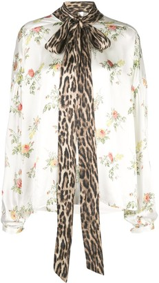 R 13 Floral Print Pussy Bow Shirt