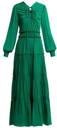 Proenza Schouler Ruffled Long Silk Dress - Womens - Dark Green