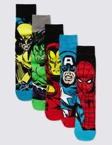 Marks and Spencer 5 Pairs of Marvel Superheroes Socks
