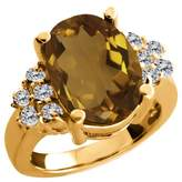 Gem Stone King 4.63 Ct Oval Whiskey Quartz White Diamond 18K Yellow Gold Ring