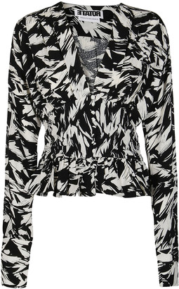 Rotate by Birger Christensen Black And White Viscose Blouse