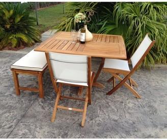 Chic Teak Miami Teak Wood Folding Outdoor Side Chair