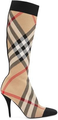 Burberry Check Stretch Knit Sock Boots