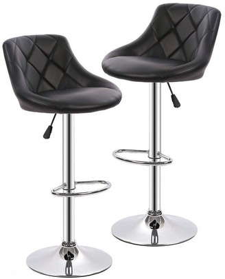 Overstock Set of 2 Barstools Height Adjustable Dining Chair with Back PU Leather