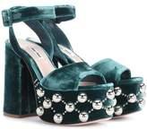 Miu Miu Velvet plateau sandals