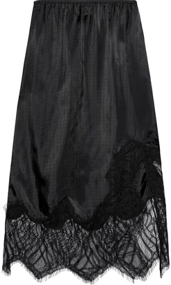 Helmut Lang Lace-paneled Satin-twill Skirt