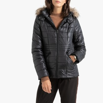 Anne Weyburn Short Padded Jacket with Faux Fur Hood and Pockets