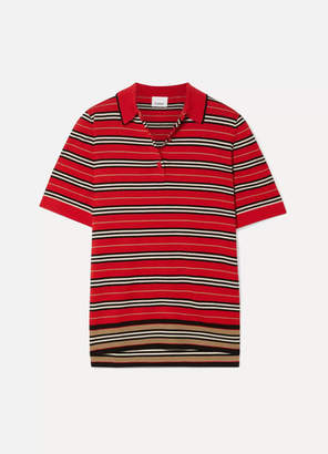 Burberry Striped Merino Wool Polo Shirt - Red