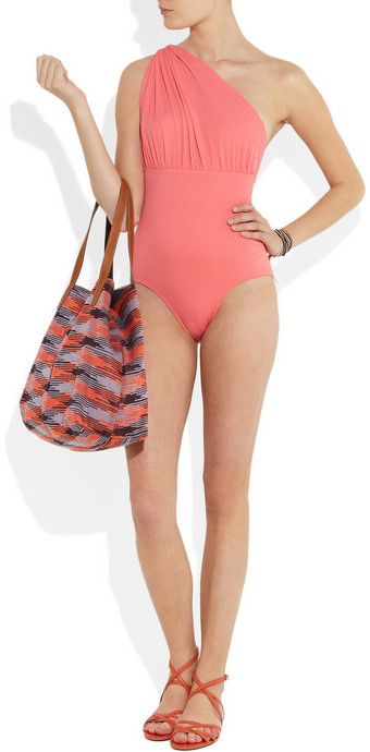 Norma Kamali Twist Mio ruched one-shoulder swimsuit