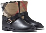 Burberry Black and Classic Check Leather Ankle Boots