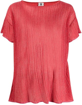 M Missoni Pleated Glitter Sheer Blouse