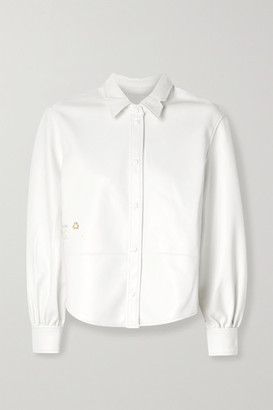 pushBUTTON Faux Leather Shirt - White
