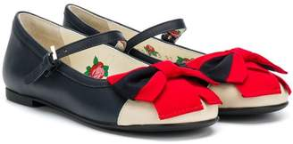 Gucci Kids Web bow ballerina shoes
