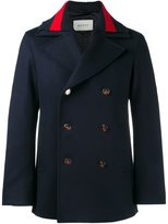 Gucci web collar peacoat
