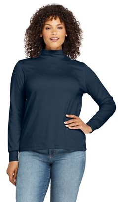 Lands' End Women's Plus Size Long Sleeve Relaxed Cotton Mockneck Top