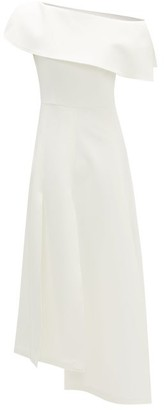 A.W.A.K.E. Mode One-shoulder Asymmetric Crepe Dress - White