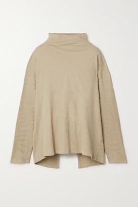 Base Range Lhasa Ribbed Organic Cotton-jersey Wrap Top - Ecru