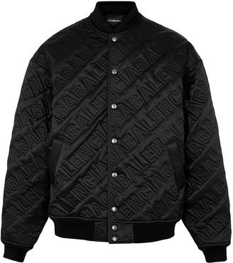 Balenciaga Black quilted satin bomber jacket