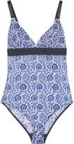 Stella McCartney Florence Fluttering printed tulle bodysuit