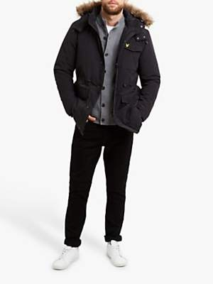 Lyle & Scott Winterweight Microfleece Lined Parka Jacket, True Black