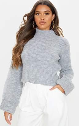 Mega Grey Fluffy Knit Deep Cuff Jumper