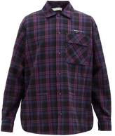 Off-White Off White Arrow-stitched Cotton-blend Flannel Shirt - Mens - Purple
