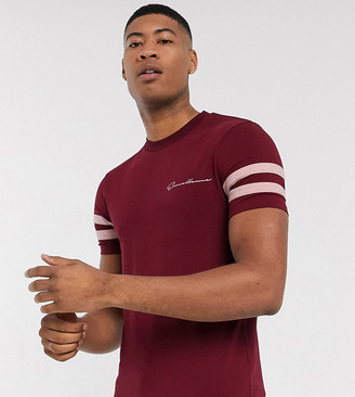 ASOS DESIGN Tall skinny t-shirt with sleeve color block and text print