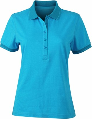James & Nicholson Women's Heather Regular Fit Short Sleeve Polo Shirt Blue (blue-melange/navy) Small (Manufacturer Size: 34)