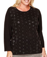 Alfred Dunner 3/4-Sleeve Allover Beaded Sweater - Plus
