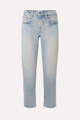 Current/Elliott The His Cropped Distressed Boyfriend Jeans - Light denim