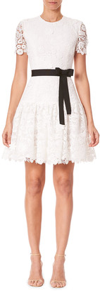 Carolina Herrera Lace Tie-Waist Mini Dress
