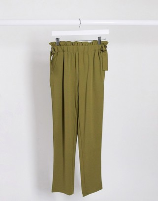 JDY bahati high waisted slim fit trousers in olive