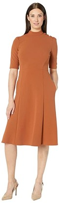 Donna Morgan Elbow Sleeve Military Detailed Shoulder Crepe Dress (Cedar) Women's Dress
