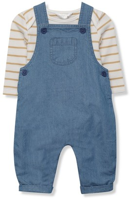 M&Co Denim dungarees and stripe top set (Newborn-18mths)