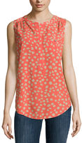Liz Claiborne Sleeveless Polka Dot Blouse