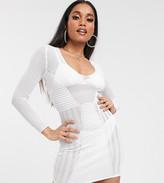 Asos DESIGN Petite mesh detail deep v structured mini dress