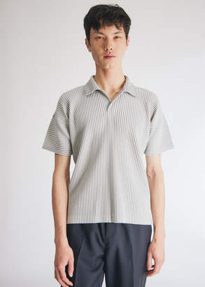 Issey Miyake Homme Plissé Homme Plisse Men's Short Sleeve Basics Collared Shirt In Light Grey, Size 2 | 100% Polyester