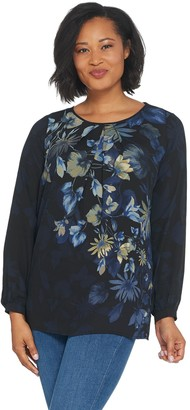 Linea by Louis Dell'Olio Placement Print Peasant Top