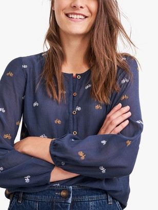 White Stuff Daily Embroidered Top, Blue