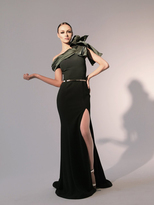 Nicole Bakti 6791 Bow Fitted Evening Gown with Slit