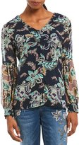 Democracy Long Sleeve Floral Print Hi-Low Woven Top