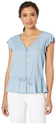 Vince Camuto Cap Sleeve Shirting Tencel DS Waist Peplum Blouse (Vintage) Women's Clothing