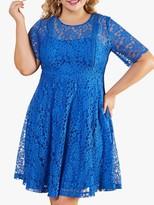Yumi Curves Lace Trim Floral Midi Dress, Blue